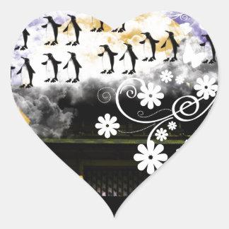 Oyama 祇 shrine and flower and penguin heart sticker