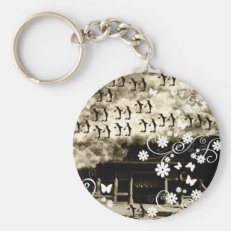 Oyama 祇 shrine and flower and penguin basic round button keychain