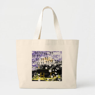 Oyama 祇 shrine and flower and penguin large tote bag