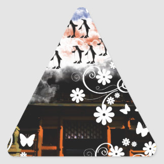 Oyama 祇 shrine and flower and penguin triangle sticker