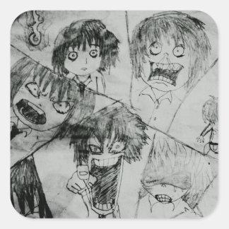 oyamada manta various shama king facial expression square sticker