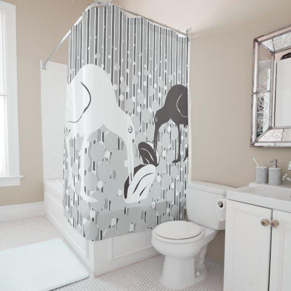 Oyster-Catcher - Silhouette - Monochrome Grey Shower Curtain