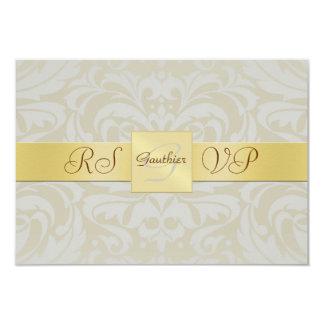 "Oyster Damask Gold Monogram RSVP Invitation 3.5"" X 5"" Invitation Card"