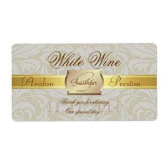 Oyster Damask Gold Monogram Wedding Wine Label