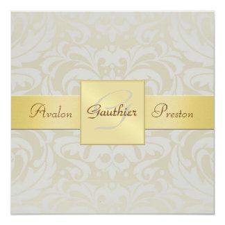 "Oyster Damask Monogram Gold Ribbon Invitation 5.25"" Square Invitation Card"