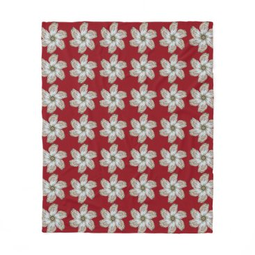 Oyster Flower Fleece Blanket - Design A Red