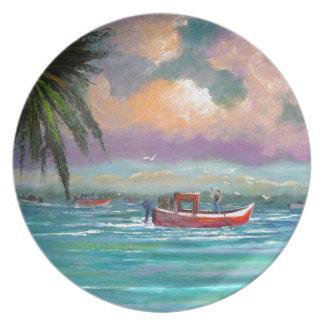 Oyster harvesting in Apalachicola Bay Melamine Plate