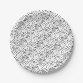 Oyster Mariachi Band Line Art Design Paper Plate