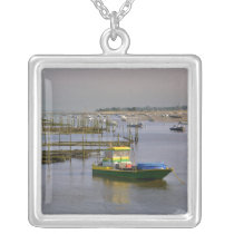 Oyster park of Cap-Ferret in France Silver Plated Necklace