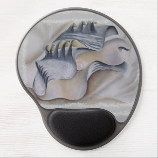 OYSTER SHELL WITH PEARL GEL MOUSE PAD
