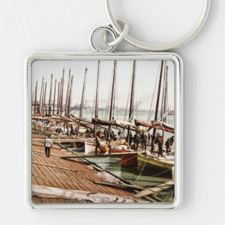 Oyster Smacks at the Levee New Orleans 1900 Keychain