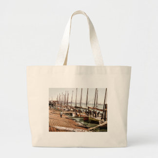 Oyster Smacks at the Levee New Orleans 1900 Large Tote Bag