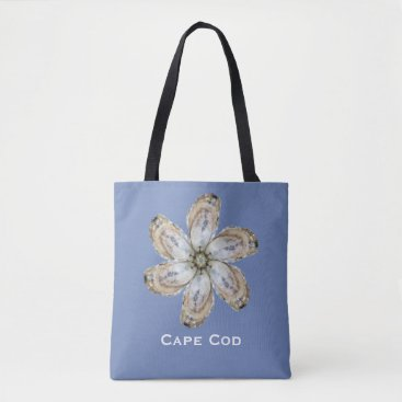 Beach Themed Oyster Tote Bag - Design A on Blue