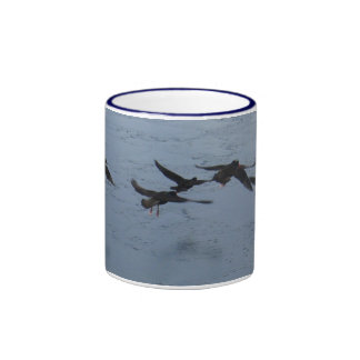 Oystercatchers in Flight Over the Water Ringer Mug