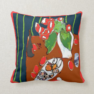Oysters and Satsumas Fauvist Still Life Pillows