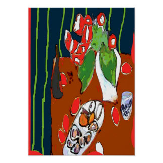 Oysters and Satsumas Fauvist Still Life Poster