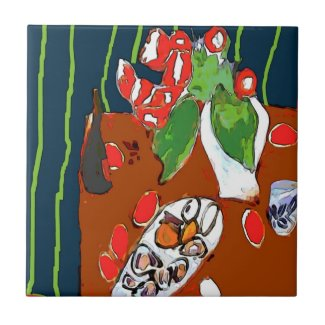 Oysters and Satsumas Fauvist Still Life Tiles