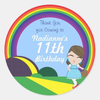 Oz BIRTHDAY custom Dorothy keepsake labels Classic Round Sticker