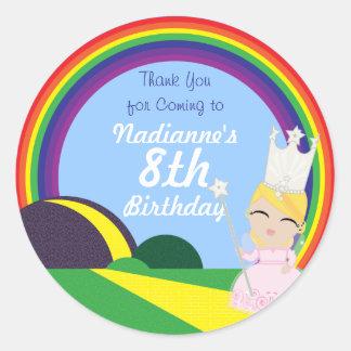 Oz BIRTHDAY custom Glinda keepsake labels Classic Round Sticker