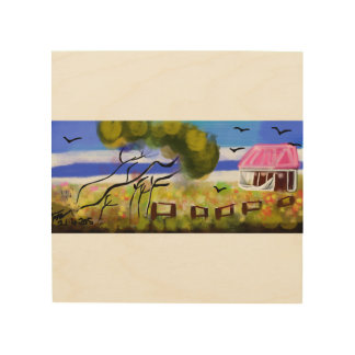 Oz Country House Landscape Wood Print