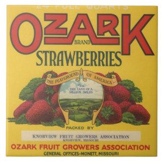 Ozark Strawberry Crate Label Ceramic Tile