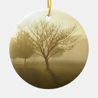 Ozarks Misty Golden Morning Sunrise Ceramic Ornament