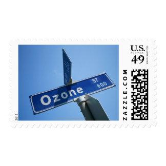 Ozone on street sign postage stamp