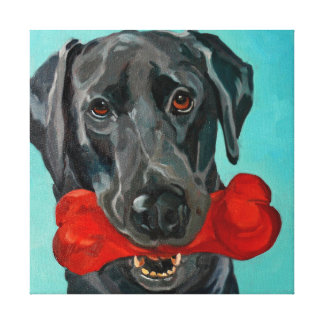 Ozzie the Black Labrador Pet Portrait Canvas Print