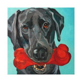 Ozzie the Black Labrador Pet Portrait Canvas Print