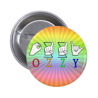 OZZY FINGERSPELLED ASL NAME SIGN PINBACK BUTTON