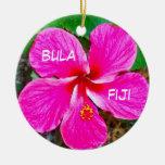 P0000104_lzn, bula, fiji Double-Sided ceramic round christmas ornament