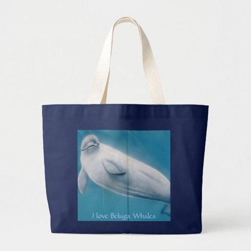 P1100784, amo ballenas de la beluga bolsa tela grande