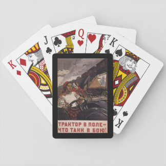 P1475 - A tractor the field_Propaganda Poster Playing Cards