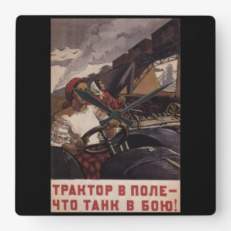 P1475 - A tractor the field_Propaganda Poster Square Wall Clock