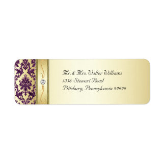 P1 Elegant Gold Purple Damask Diamond Label