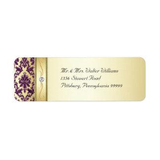 P1 Elegant Gold Purple Damask Diamond Label Return Address Label
