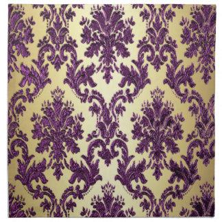 P1 Elegant Gold Purple Damask Napkins
