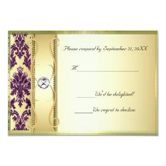 P1 Gold on Purple Damask RSVP Card