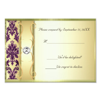 P1 Gold on Purple Damask RSVP Card Announcements