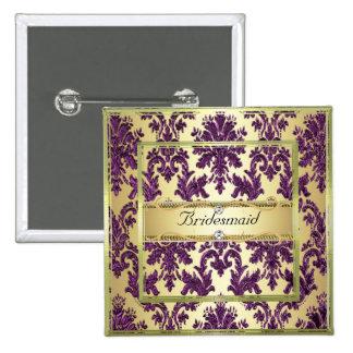 P1 Gold Purple Damask Bridesmaid Button/Pin