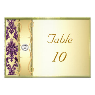 P1 Gold Purple Damask Placement Card Custom Invitation