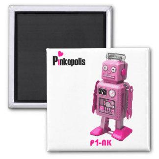 P1-nK Retro Robot Pink Logo Fridge Magnets