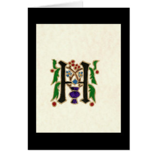 p25 MEDIEVAL LETTER H Greeting Card