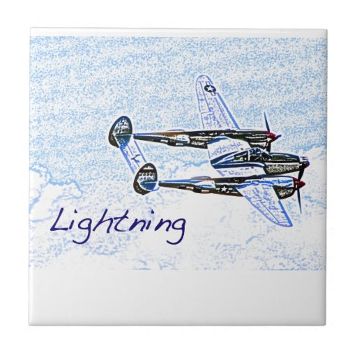 p38 Lightning world war 2 combat aircraft Small Square Tile