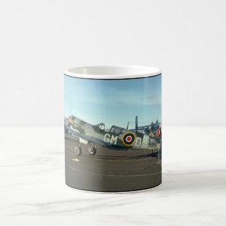 P40 en la exhibición, aviones izquierdos de taza de café