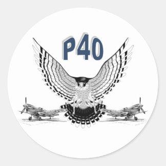 P40 FIGHTER BOMBER CLASSIC ROUND STICKER