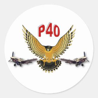P40 WARHAWK FIGHTER BOMBER CLASSIC ROUND STICKER