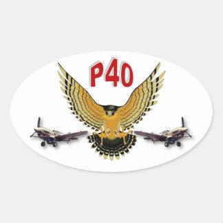 P40 WARHAWK FIGHTER BOMBER OVAL STICKER