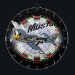 "P51 Mustang Dartboard<br><div class=""desc"">P-51 Mustang flying through the sky,  posterized style.</div>"