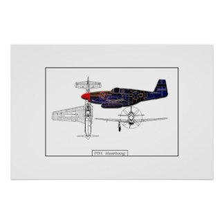 P51 Mustang fighter Poster